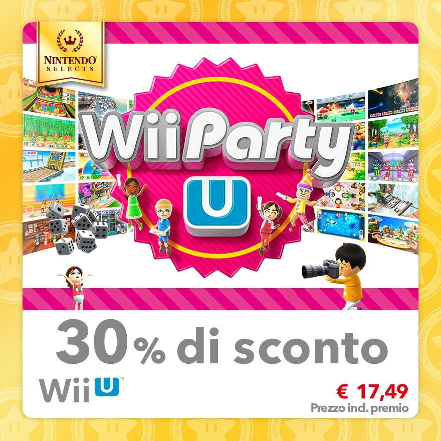 Sconto del 30% su Nintendo Selects: Wii Party U