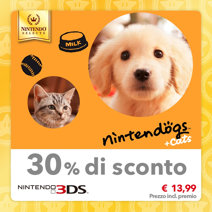 Sconto del 30% su Nintendo Selects: nintendogs + cats: Golden retriever & Nuovi amici