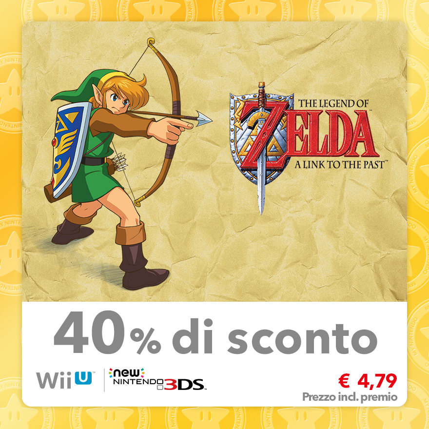 Sconto del 40% su The Legend of Zelda: A Link to the Past (Virtual Console SNES)