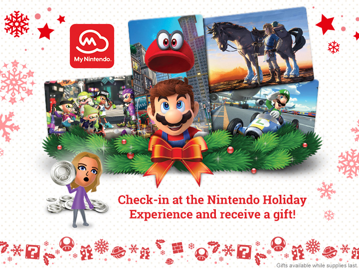 check in at the nintendo holiday experience to get a my nintendo
