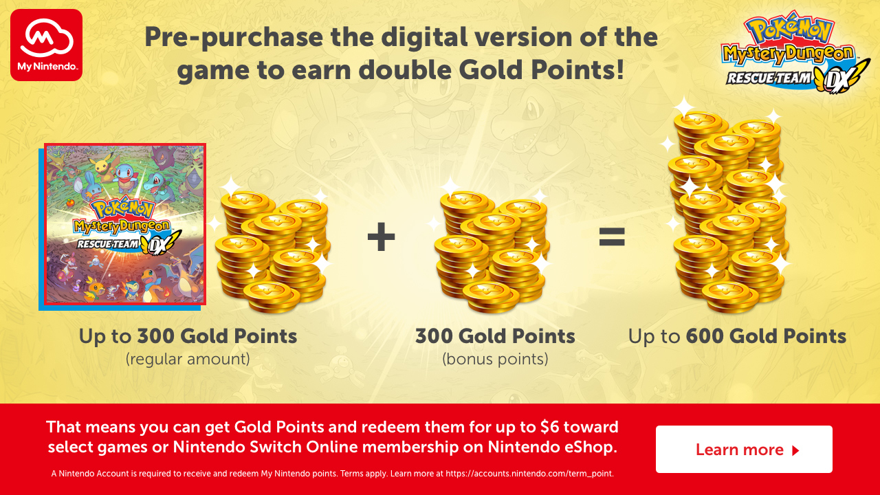 My Nintendo Double Gold Points Pre-purchase process - Pokémon Mystery Dungeon: Rescue Team DX