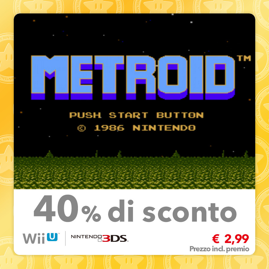 Sconto del 40% su Metroid (Virtual Console NES)