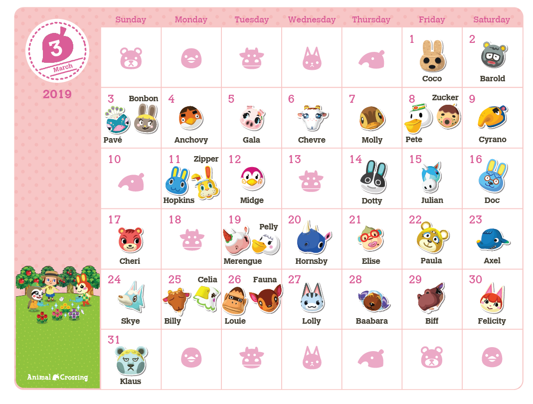 Printable Animal Crossing 2019 Birthday Calendar Rewards My