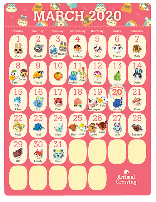 Printable Animal Crossing 2020 Birthday Calendar Rewards My