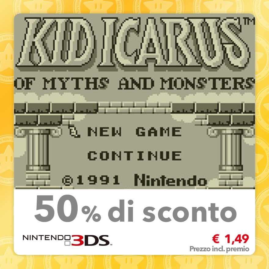 Sconto del 50% su Kid Icarus: Of Myths and Monsters (Virtual Console GB)