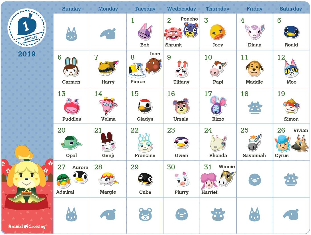 2019 Animal Crossing Birthday Calendar available on My Nintendo