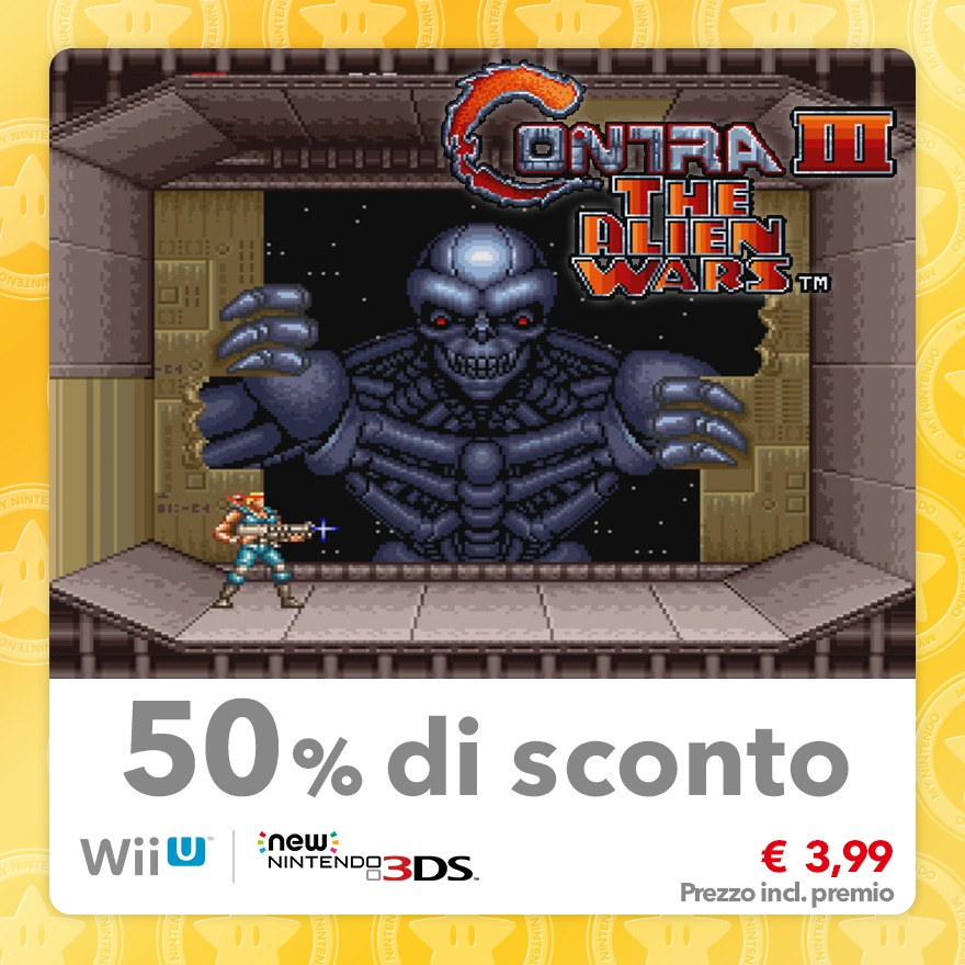 Sconto del 50% su Contra III The Alien Wars (Virtual Console SNES)