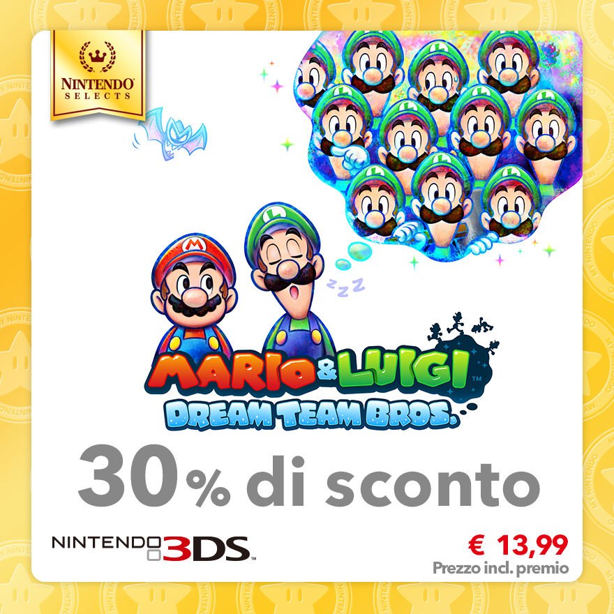 Sconto del 30% su Nintendo Selects: Mario & Luigi: Dream Team Bros.
