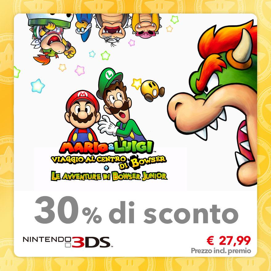 Sconto del 30% su Mario & Luigi: Viaggio al centro di Bowser + Le avventure di Bowser Junior