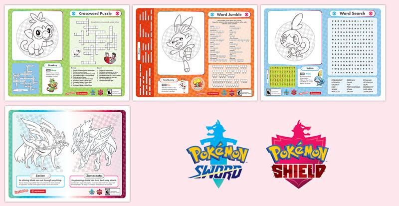 Printable - Pokémon Sword And Pokémon Shield Activity Sheet Placemats  Récompenses My Nintendo
