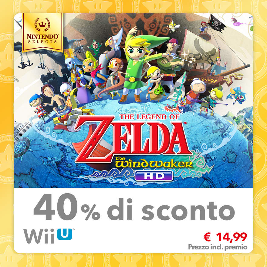 Sconto del 40% su Nintendo Selects: The Legend of Zelda: Wind Waker HD