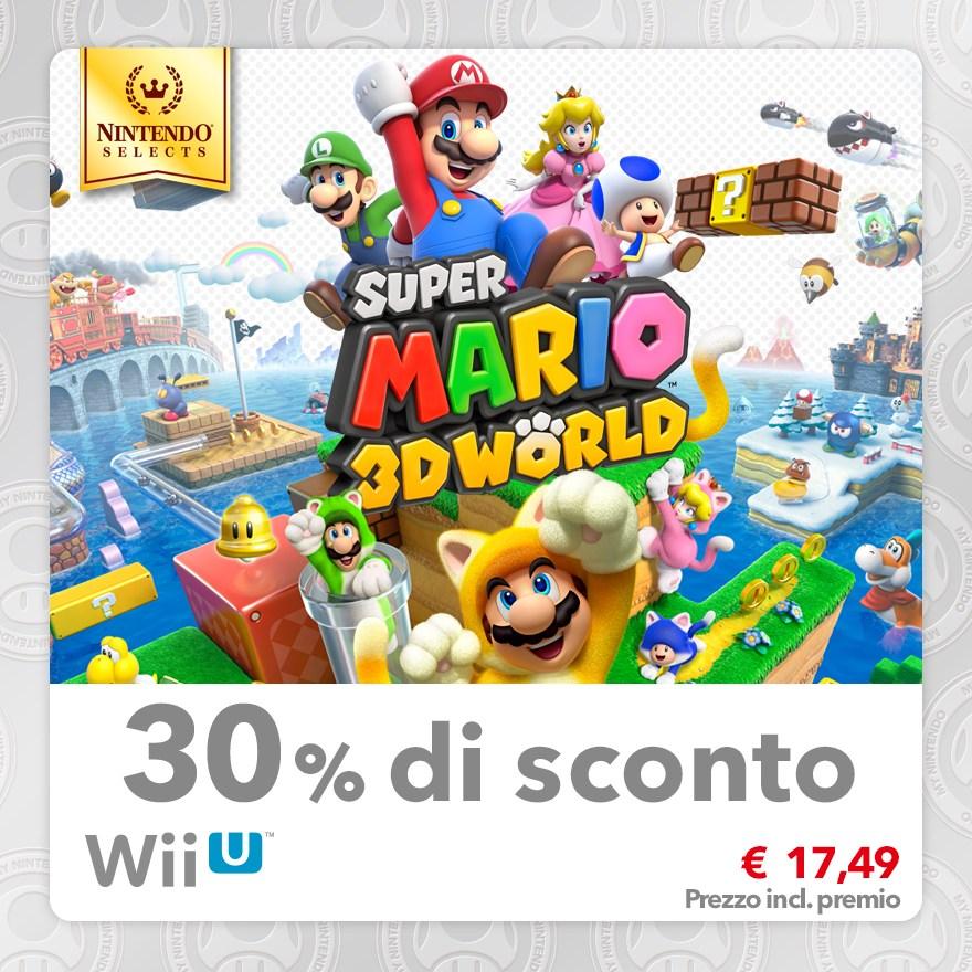 Sconto del 30% su Nintendo Selects: Super Mario 3D World