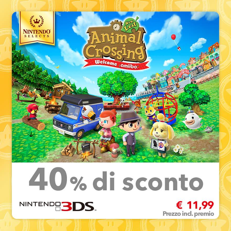 Sconto del 40% su Nintendo Selects: Animal Crossing: New Leaf - Welcome amiibo
