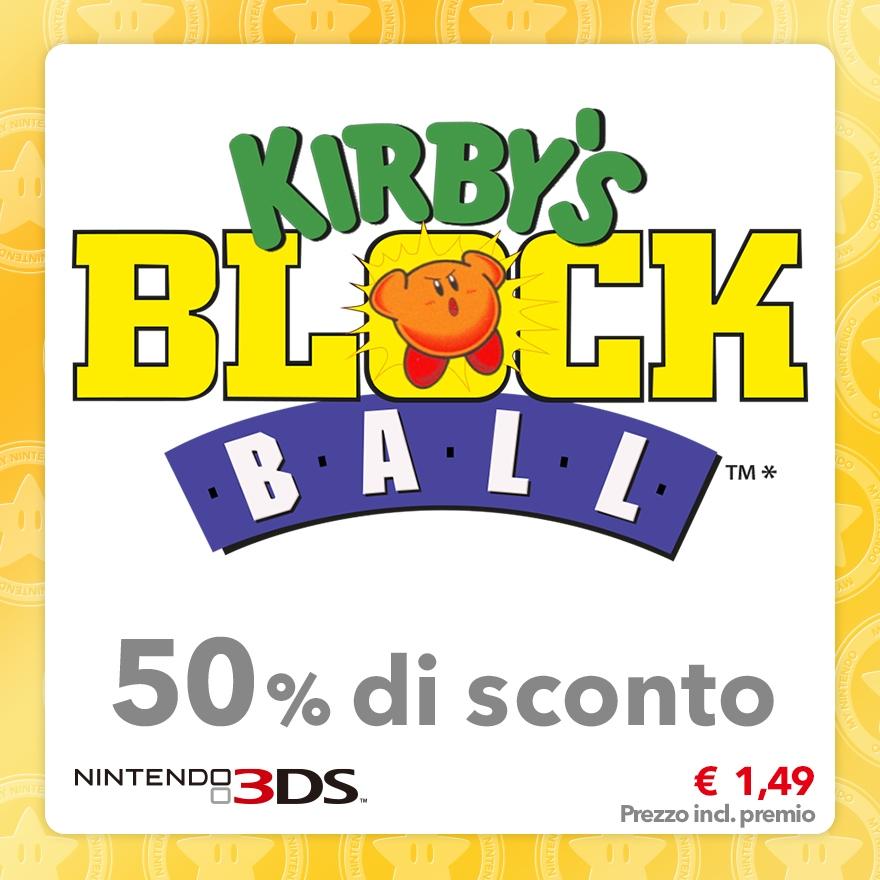 Sconto del 50% su Kirby's Block Ball (Virtual Console)