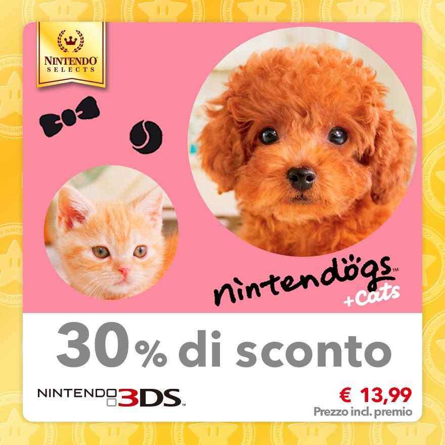 Sconto del 30% su Nintendo Selects: nintendogs + cats: Barboncino nano & Nuovi amici