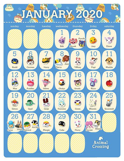 Printable   Animal Crossing™ 2020 Birthday Calendar | Rewards | My