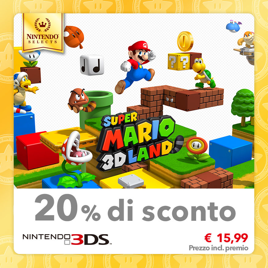 Sconto del 20% su Nintendo Selects: Super Mario 3D Land