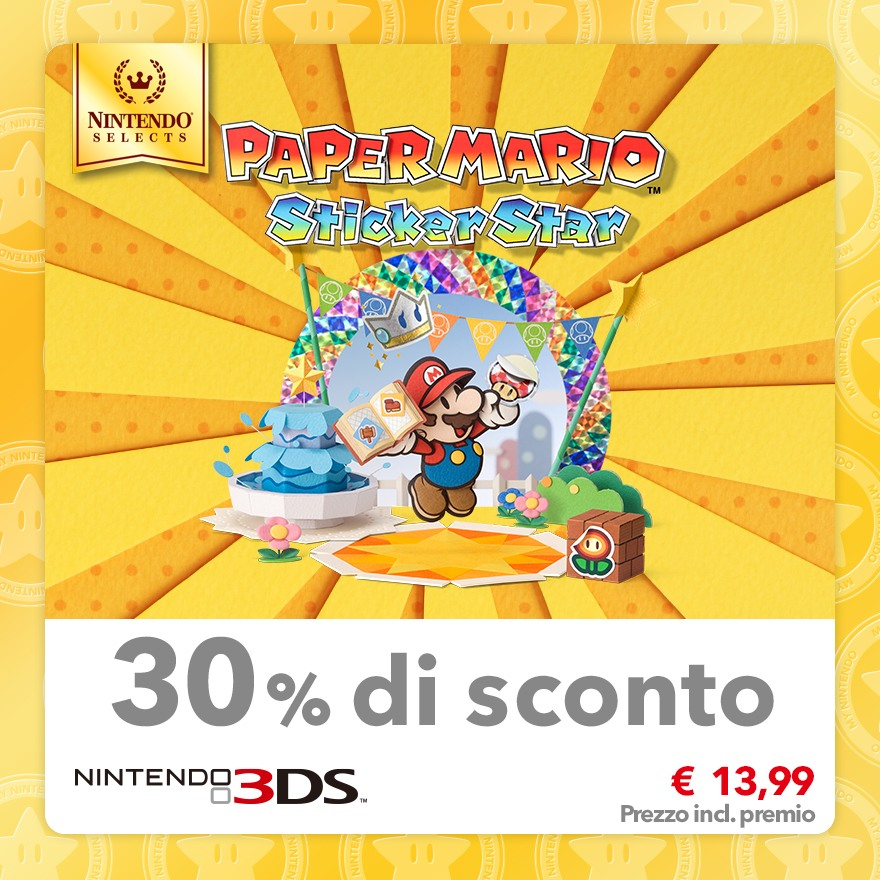 Sconto del 30% su Nintendo Selects: Paper Mario: Sticker Star