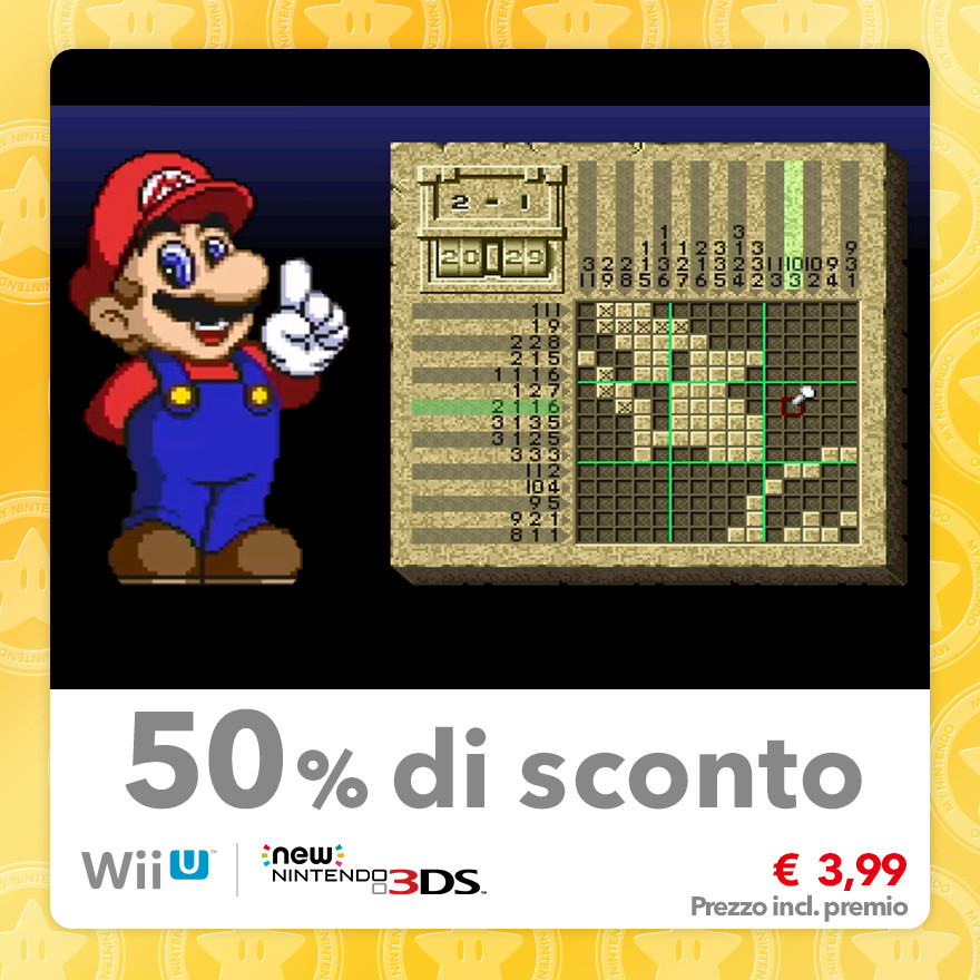 Sconto del 50% su Mario's Super Picross (Virtual Console SNES)